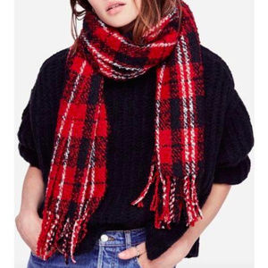 Free People || NWT Red Emerson Plaid Blanket Scarf